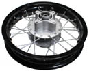 dirt bike black alloy 12 in rear disc rim, 58mm sprocket hub, 50mm rotor hub